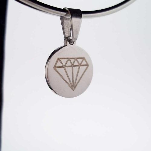 Charms Acciaio Ingrosso | 10 pezzi Charms acciaio tondo con diamante 15 mm - dia110
