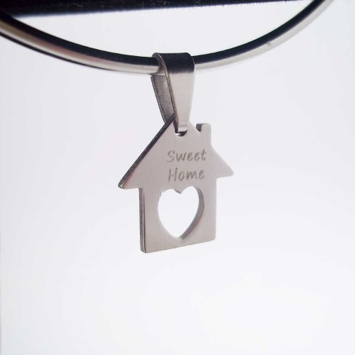 Charms Acciaio Ingrosso | 10 pezzi Charms casetta scritta Sweet Home 15 mm - cash1