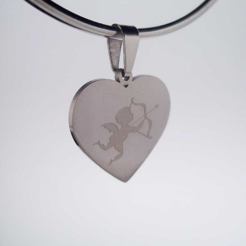Charms Acciaio Ingrosso | 10 pezzi Charms acciaio cuore cupido 18 mm - nnw00