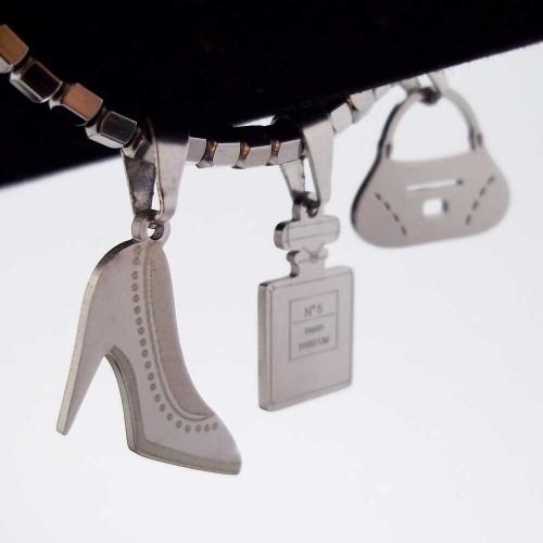 Charms Acciaio Ingrosso | 10 pezzi Charms acciaio 16x14 mm borsetta - vzw09