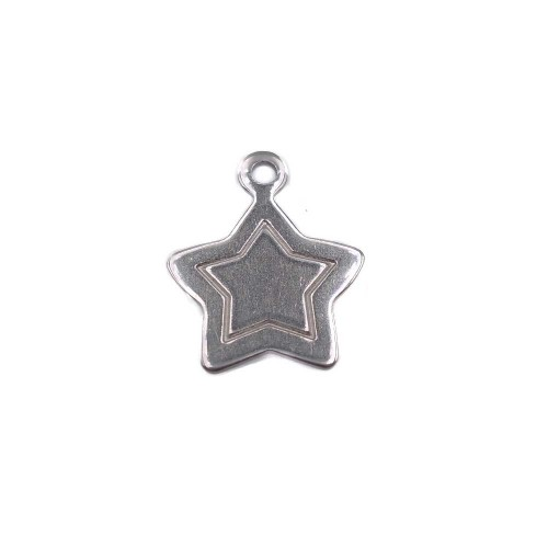 Charms In Acciaio | Charms stella in acciaio 17 mm pacco 1 pezzo - st09