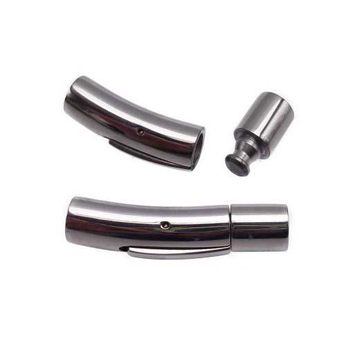 Chiusure Per Cordini In Pelle | Chiusura a scatto in acciaio inox 28X6 mm con foro da 4 mm - AC02