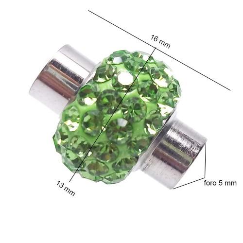 Chiusure Magnetiche | CHIUSURA CON CRISTALLI VERDI PACCO 1 PZ - fb9699