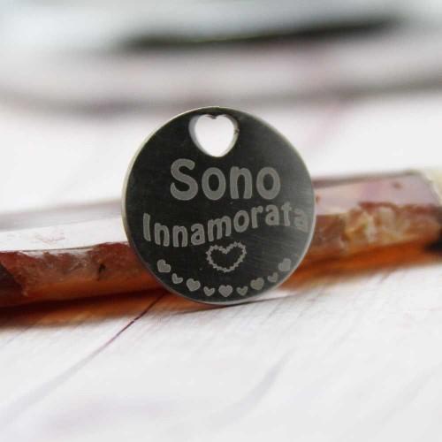 Ciondoli con scritta economici | Ciondolo sono innamorata 20 mm 5 pz - cio0206