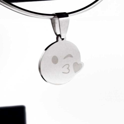 Ciondoli In Acciaio | Emoticon kiss 18 mm pacco 1 pezzo - emo88