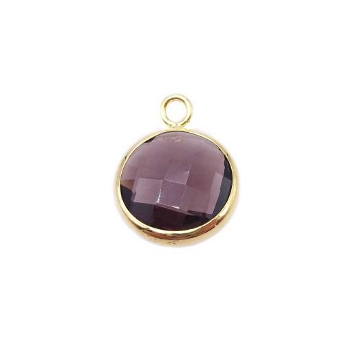 Ciondoli cristallo | Ciondolo cristallo ametista con scocca oro 16 mm 1 pezzo - zf011
