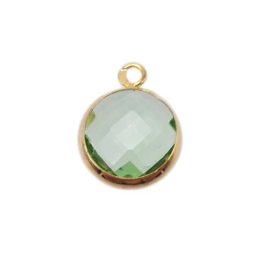 Ciondoli cristallo | Ciondolo cristallo verde chiaro con scocca oro 16 mm 1 pezzo - zf02