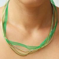Collana multi filo verde da 50 cm pacco da 1 pezzo