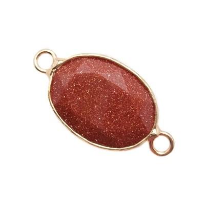 Connettore ovale oro in pietra del sole 18x13 mm 1 pz