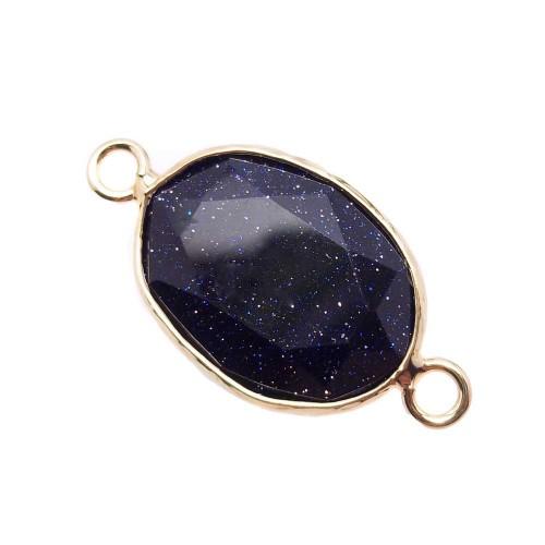 Connettori In Pietra Dura | Connettore ovale oro in pietra del sole blu 20x16 mm 1 pz - lu004