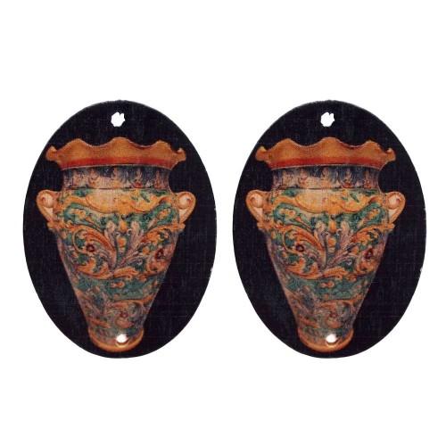 Connettori in legno | Connettori decorati neri ovali in legno 40x30 mm 2 pezzi - cl0125