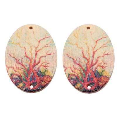 Connettori ovali decorati in legno 39x29 mm 2 pezzi