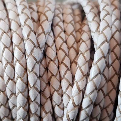 Cordino In pelle intrecciato bianco 3 mm 50 cm