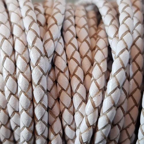 Cordino In Pelle | Cordino In pelle intrecciato bianco 3 mm 50 cm - Cord2