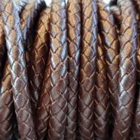 Cordino In pelle intrecciato marrone 6 mm 50 cm