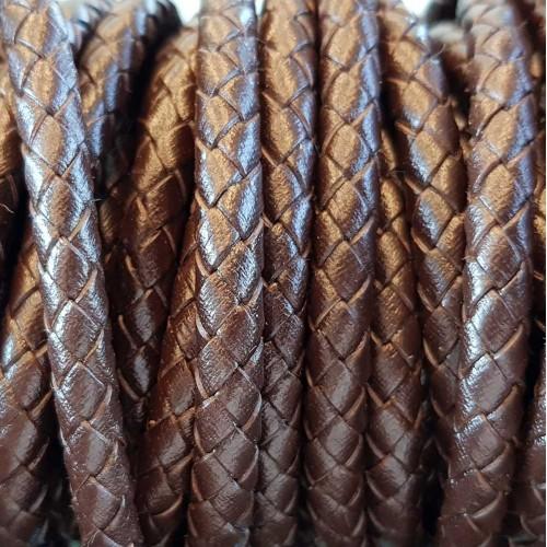 Cordino In Pelle | Cordino In pelle intrecciato marrone 6 mm 50 cm - Cord1