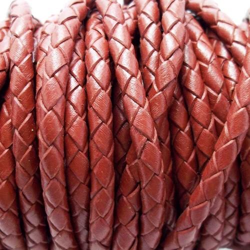 Cordino In Pelle | Cordino In pelle intrecciato marrone brunito 4 mm 50 cm - Cord8