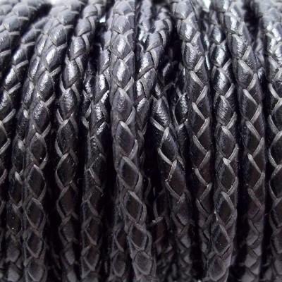 Cordino In pelle intrecciato nero 3 mm 50 cm