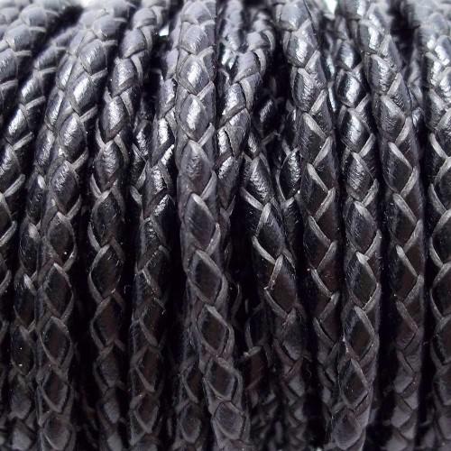 Cordino In Pelle | Cordino In pelle intrecciato nero 3 mm 50 cm - Cord9
