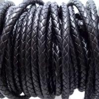 Cordino In pelle intrecciato nero 6 mm 50 cm