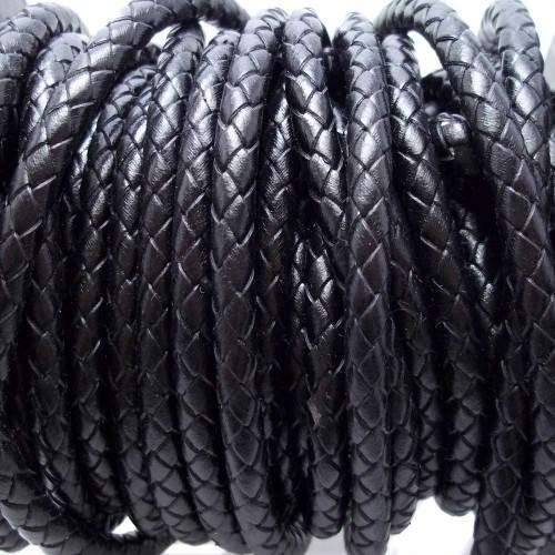 Cordino In Pelle | Cordino In pelle intrecciato nero 6 mm 50 cm - Cord10