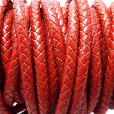Cordino In pelle intrecciato roso 6 mm 50 cm