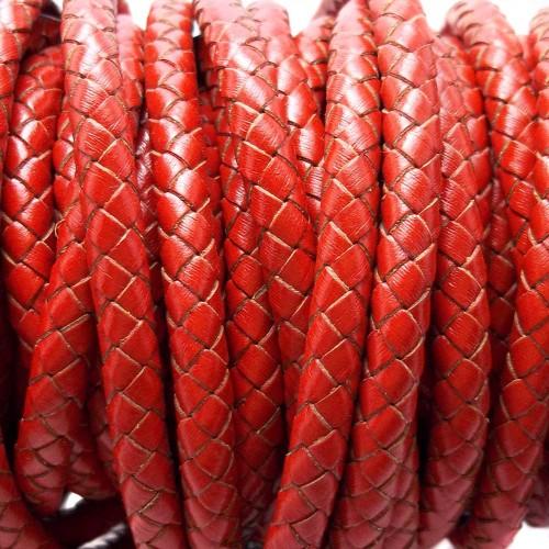 Cordino In Pelle | Cordino In pelle intrecciato roso 6 mm 50 cm - Cord11