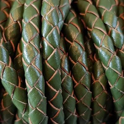Cordino In pelle intrecciato verde 4 mm 50 cm