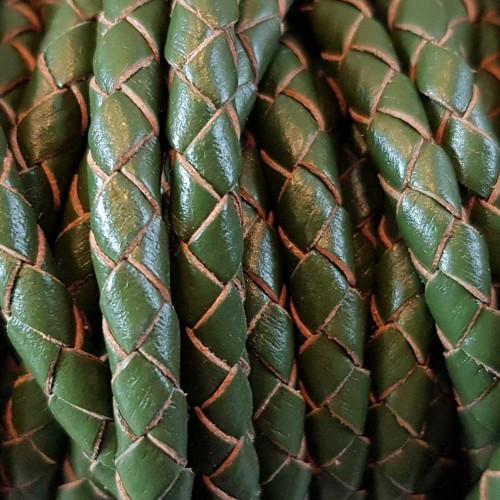 Cordino In Pelle | Cordino In pelle intrecciato verde 4 mm 50 cm - Cord3