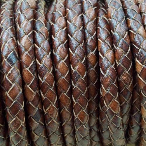 Cordino In Pelle | Cordone pelle intrecciato 6 mm pacco 50 cm - cord11