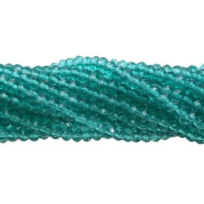 Cristalli rondella verde turchese trasparente 3x2 mm filo 43 cm