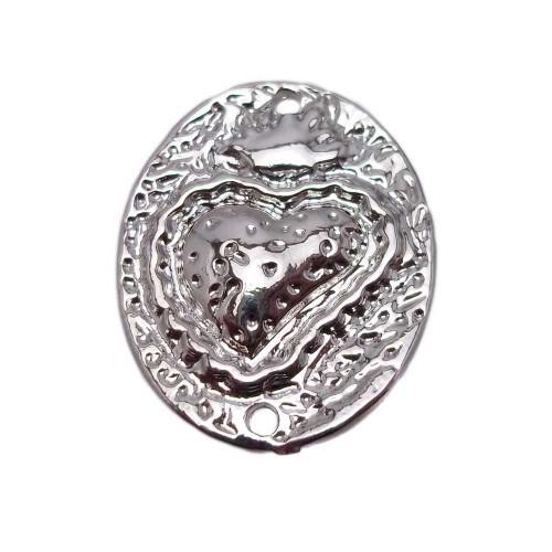 Cuori Sacri | Piastra cuore sacro rodiato  25x20 mm pacco 1 pezzo - CU006