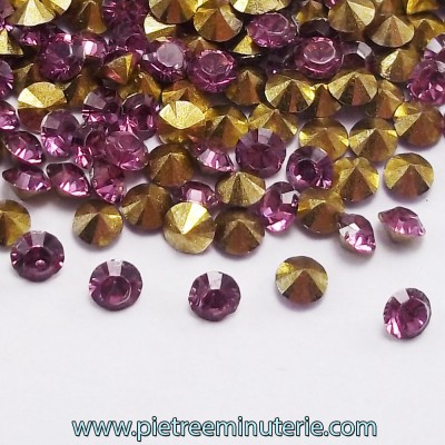 DIAMANTINI MICRO 3 MM AMETISTA CON BASE ORO PACCO 5 GR