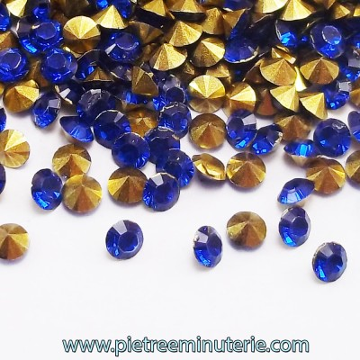 DIAMANTINI MICRO 3 MM BLU CON BASE ORO PACCO 5 GR