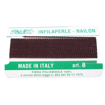 Filo infila perle marrone con ago in rame 1 mm 1 pz