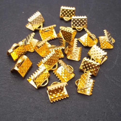 Finali e Capocorda | Finali dentati oro 8x6 mm pacco 10 pezzi - fd03