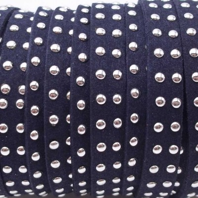 Laccetto in alcantara borchiato blu notte 10 mm pacco 1 metro
