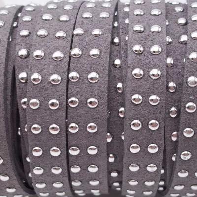 Laccetto in alcantara borchiato grigio 10 mm pacco 1 metro