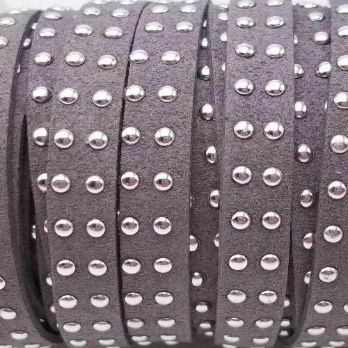 Laccetto alcantara borchiato | Laccetto in alcantara borchiato grigio 10 mm pacco 1 metro - zf034