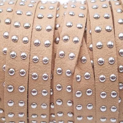 Laccetto in alcantara borchiato nocciola 10 mm pacco 1 metro