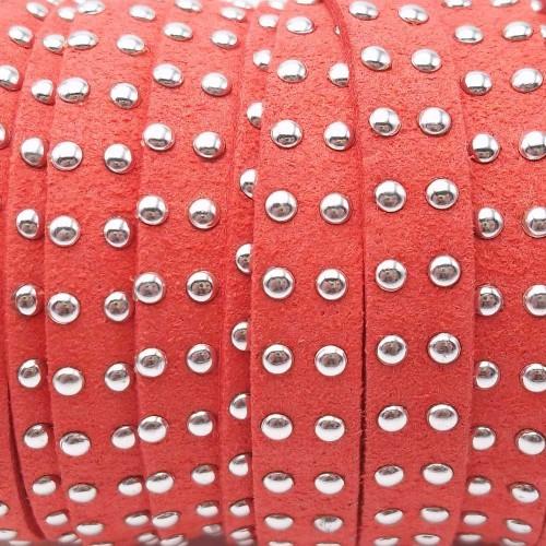 Laccetto alcantara borchiato | Laccetto in alcantara borchiato rosa antico 10 mm pacco 1 metro - zf036