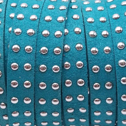Laccetto alcantara borchiato | Laccetto in alcantara borchiato turchese 10 mm pacco 1 metro - zf038