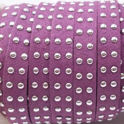 Laccetto in alcantara borchiato viola 10 mm pacco 1 metro