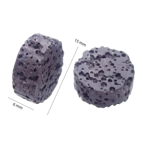 Perle Di Lava | LAVA GETTONE NERA 15 MM 2 PZ - fb9759