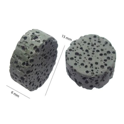 Perle Di Lava | LAVA GETTONE VERDE MILITARE 15 MM 2 PZ - fb9766