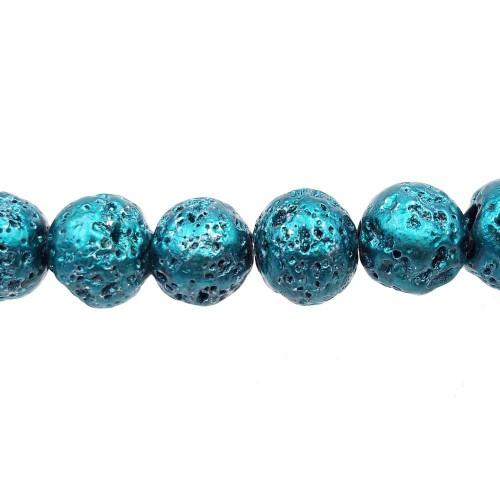 Perle Di Lava | Lava tonda 8 mm verde scuro metallizzato pacco 10 pezzi - lav778