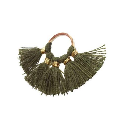 Nappine | Nappine verde militare con anellino oro 27x18 mm pacco 1 pz - sx04
