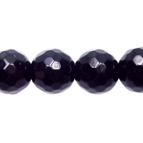 Onice | Onice nero tondo sfaccettato 10 mm filo 40 cm - a19a