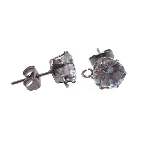 Orecchini In Acciaio | Orecchini in acciaio con zircone 6 mm pacco 2 pezzi - orz789