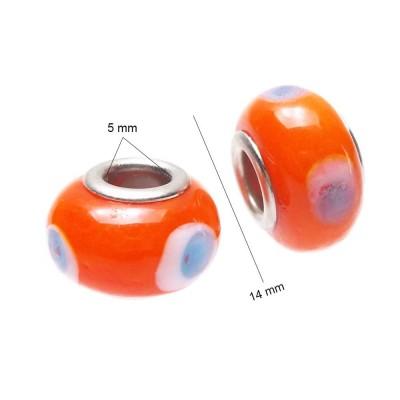 Perline a foro largo arancio 14 mm pacco 10 pezzi